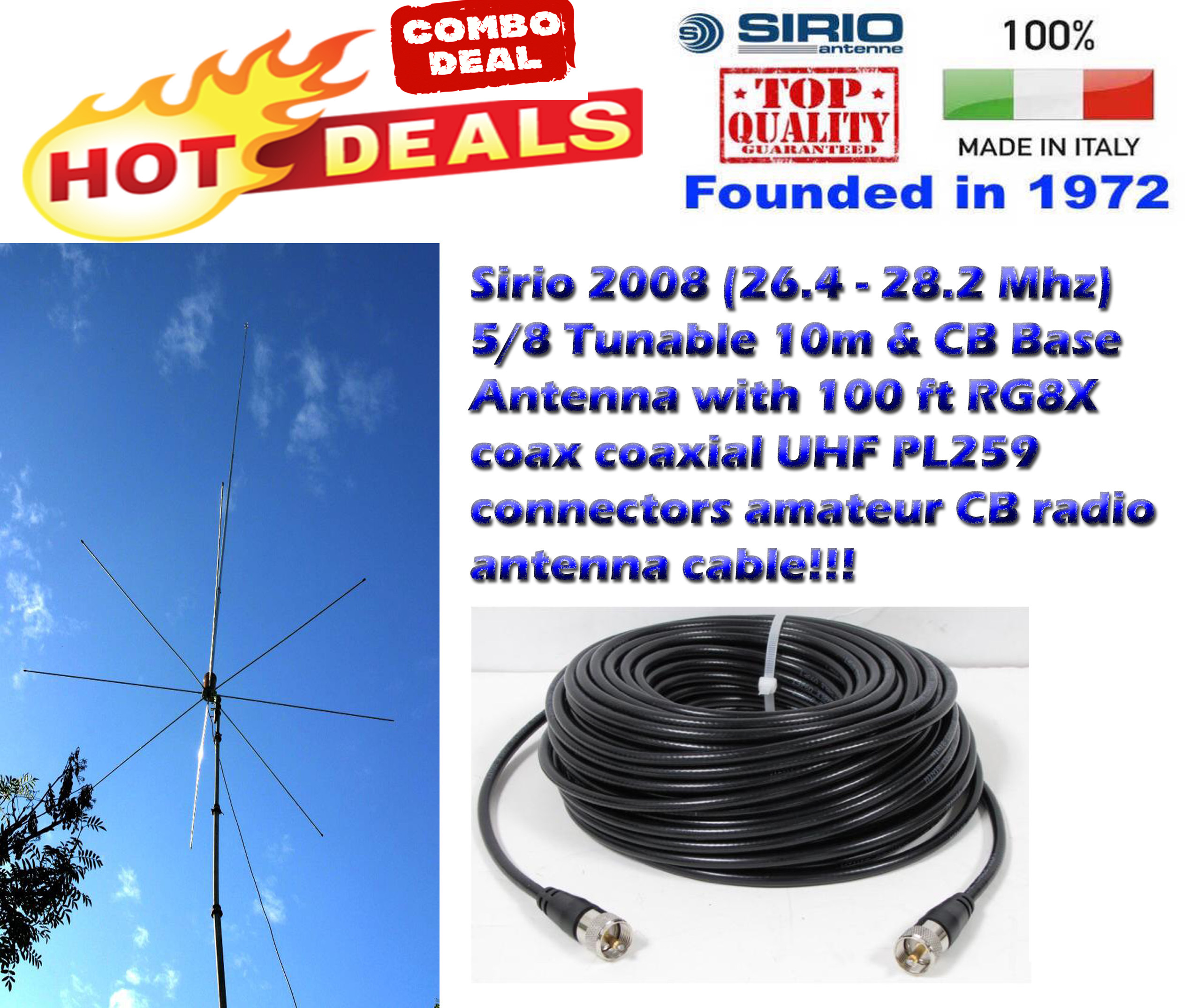 Sirio 2008 5/8 Tunable 10m & CB Base Antenna with 100 Ft Coax