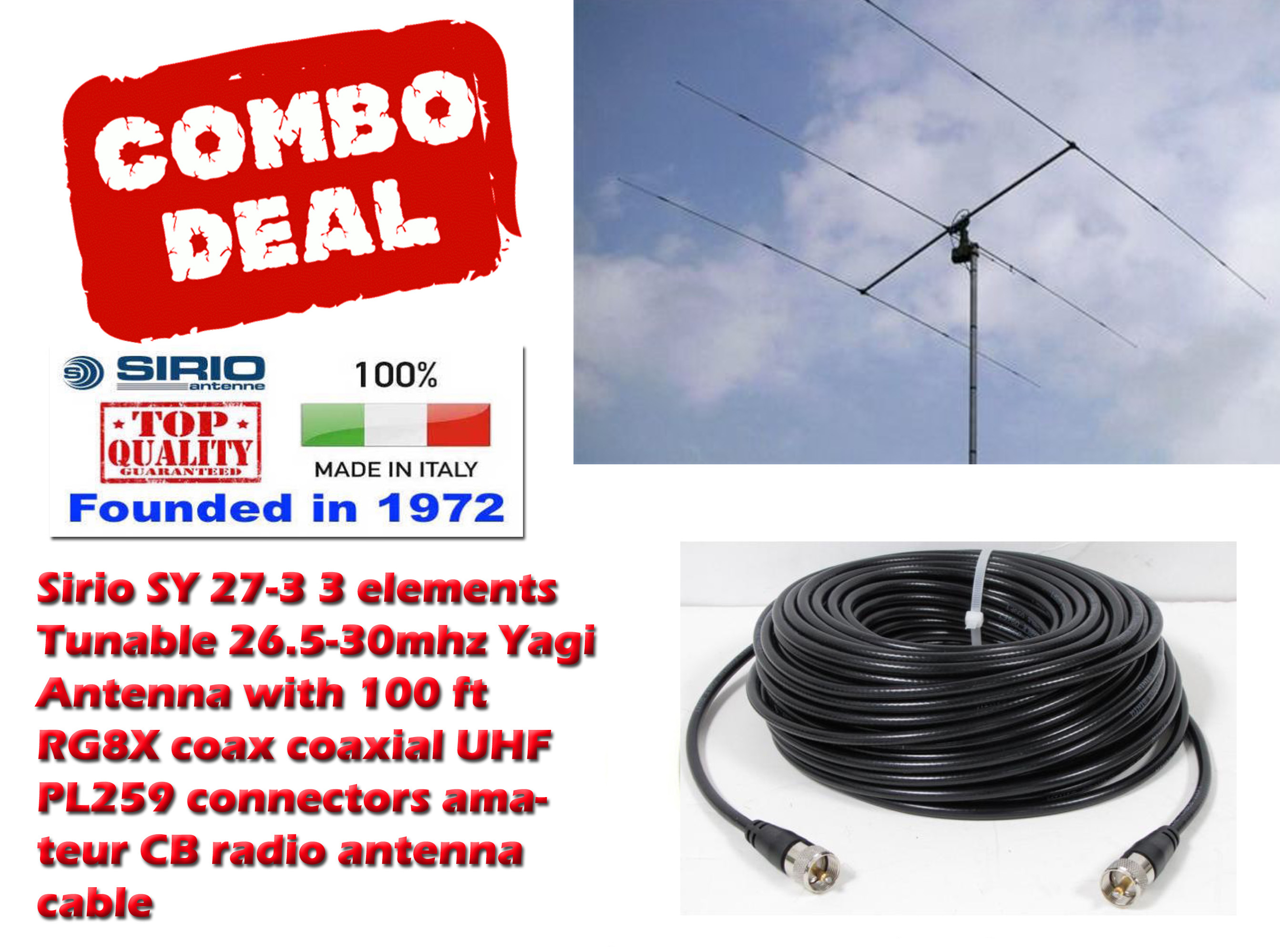 Sirio SY 27-3 3 elements Tunable Yagi Antenna with 100 Ft Coax