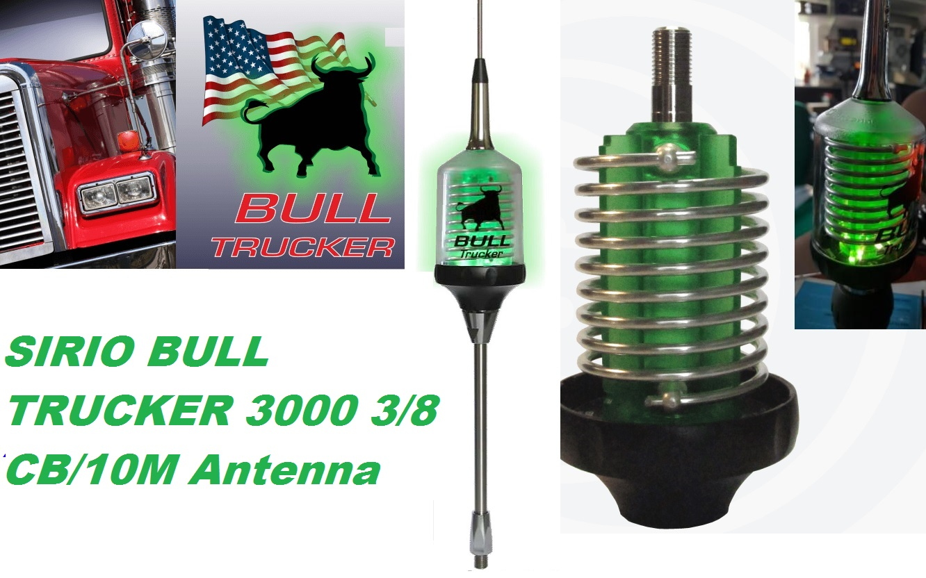 Sirio Bull Trucker 3000 3/8 CB & 10M Mobile Antenna with Shaft