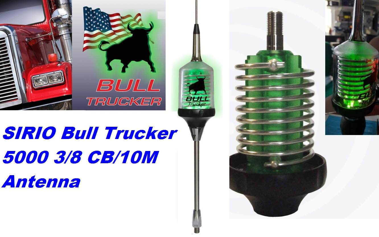 Sirio Bull Trucker 5000 3/8 CB & 10M Mobile Antenna With Shaft