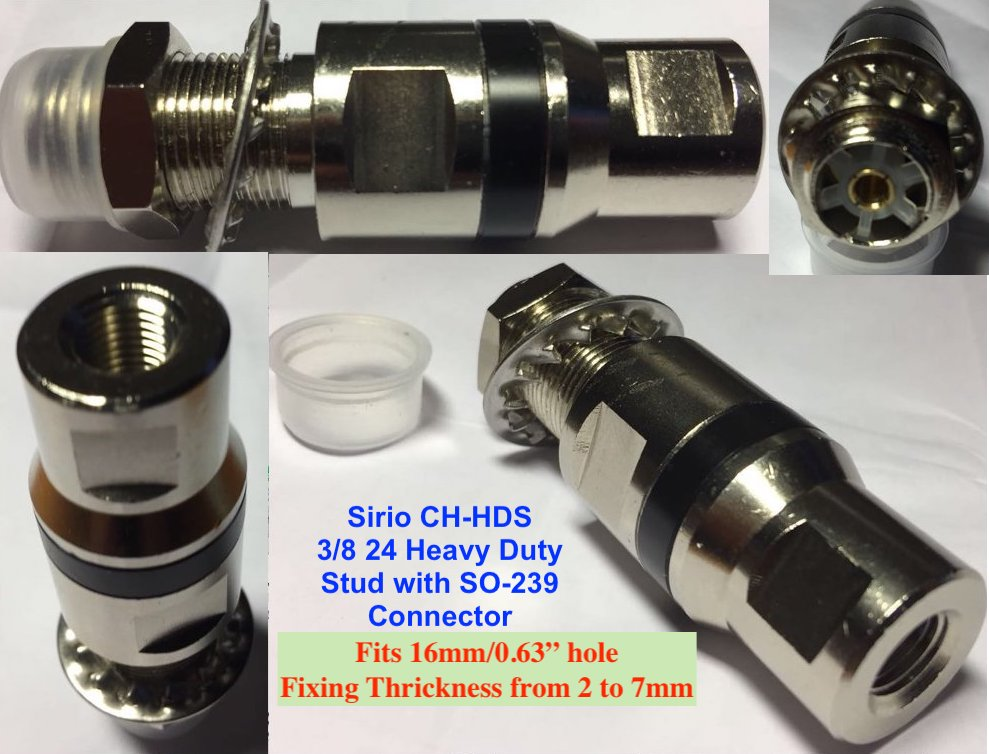 Sirio CB-HDS Heavy Duty 3/8 to SO 239 Adaptor