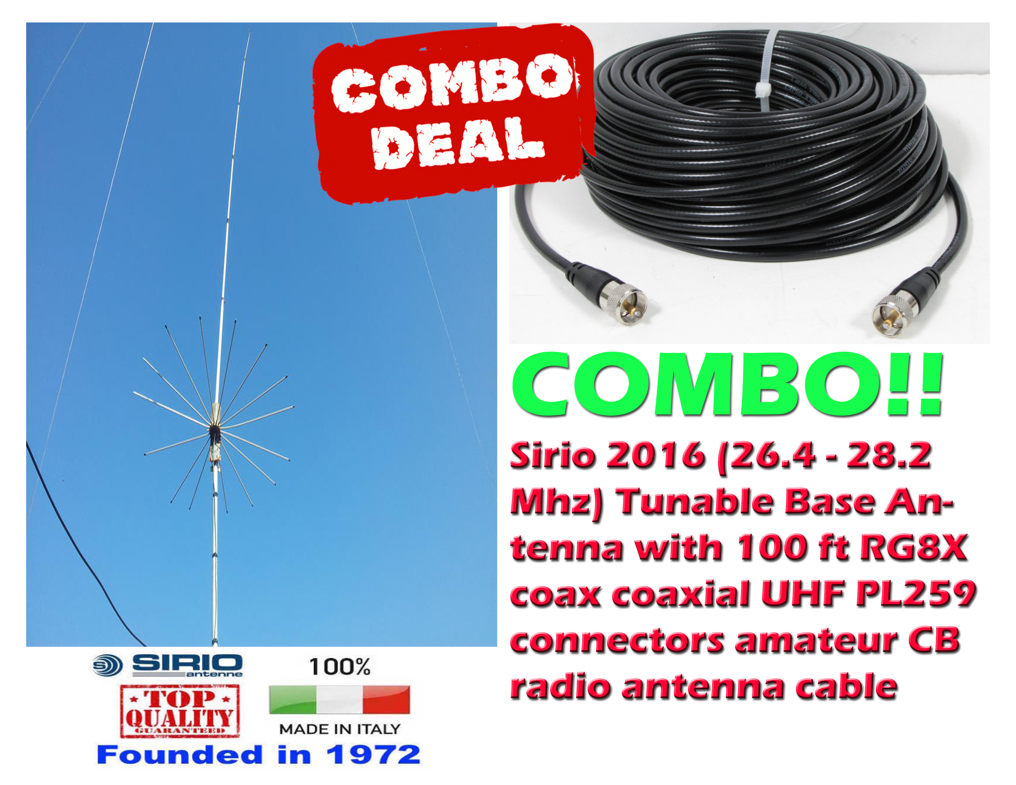 Sirio 2016 (26.4 - 28.2 Mhz) Tunable Base Antenna + 100 ft Coax