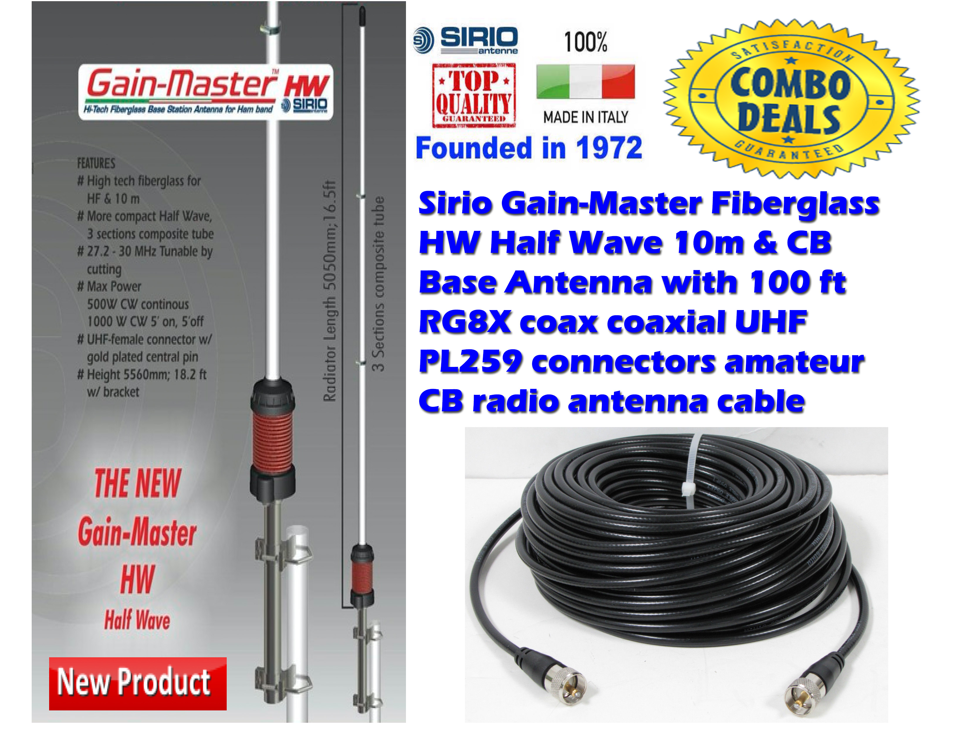 Sirio Gain-Master HW 1/2 Wave 10M-HAM Base Antenna + 100Ft Coax
