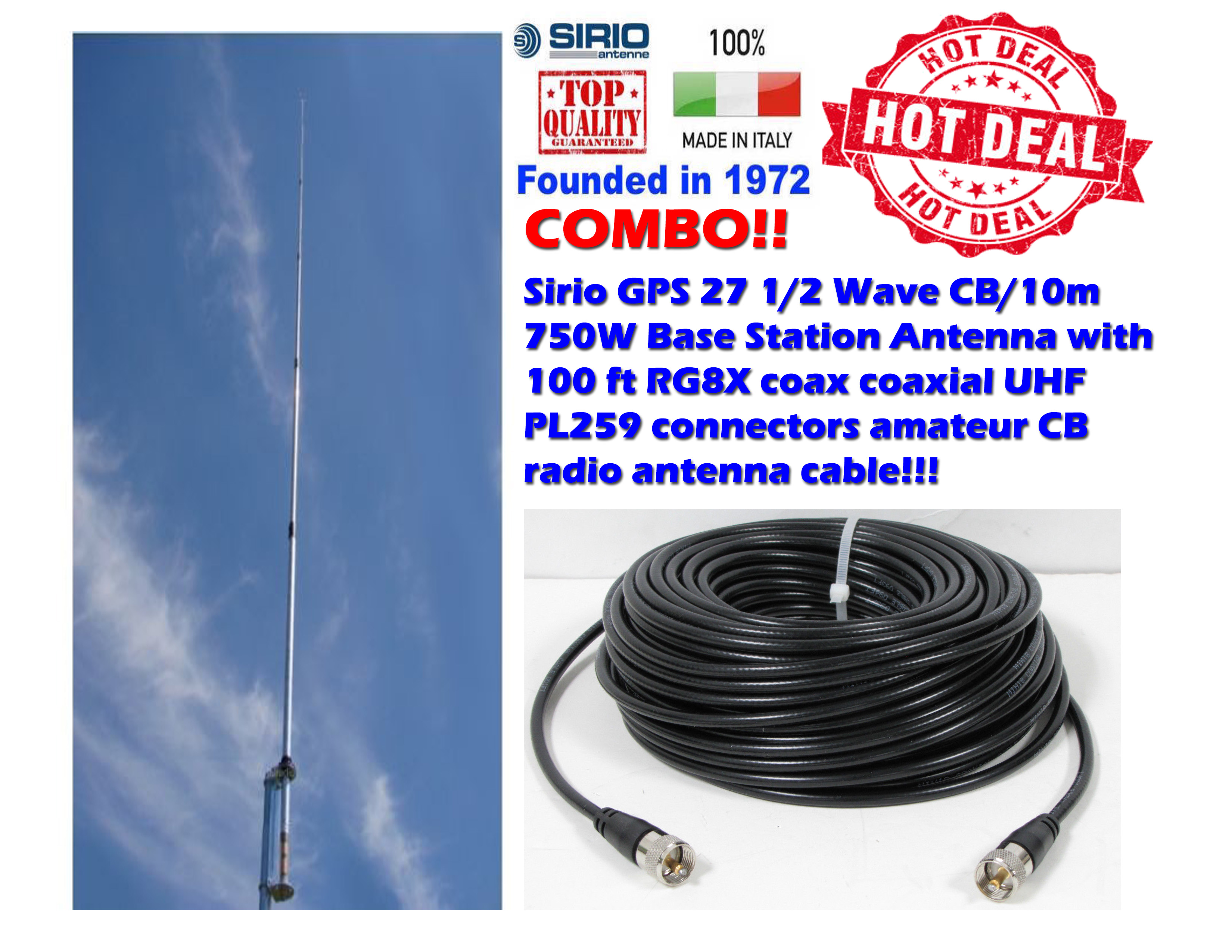 Sirio GPS 27 1/2 Wave CB/10m Base Station Antenna 100 Ft Coax