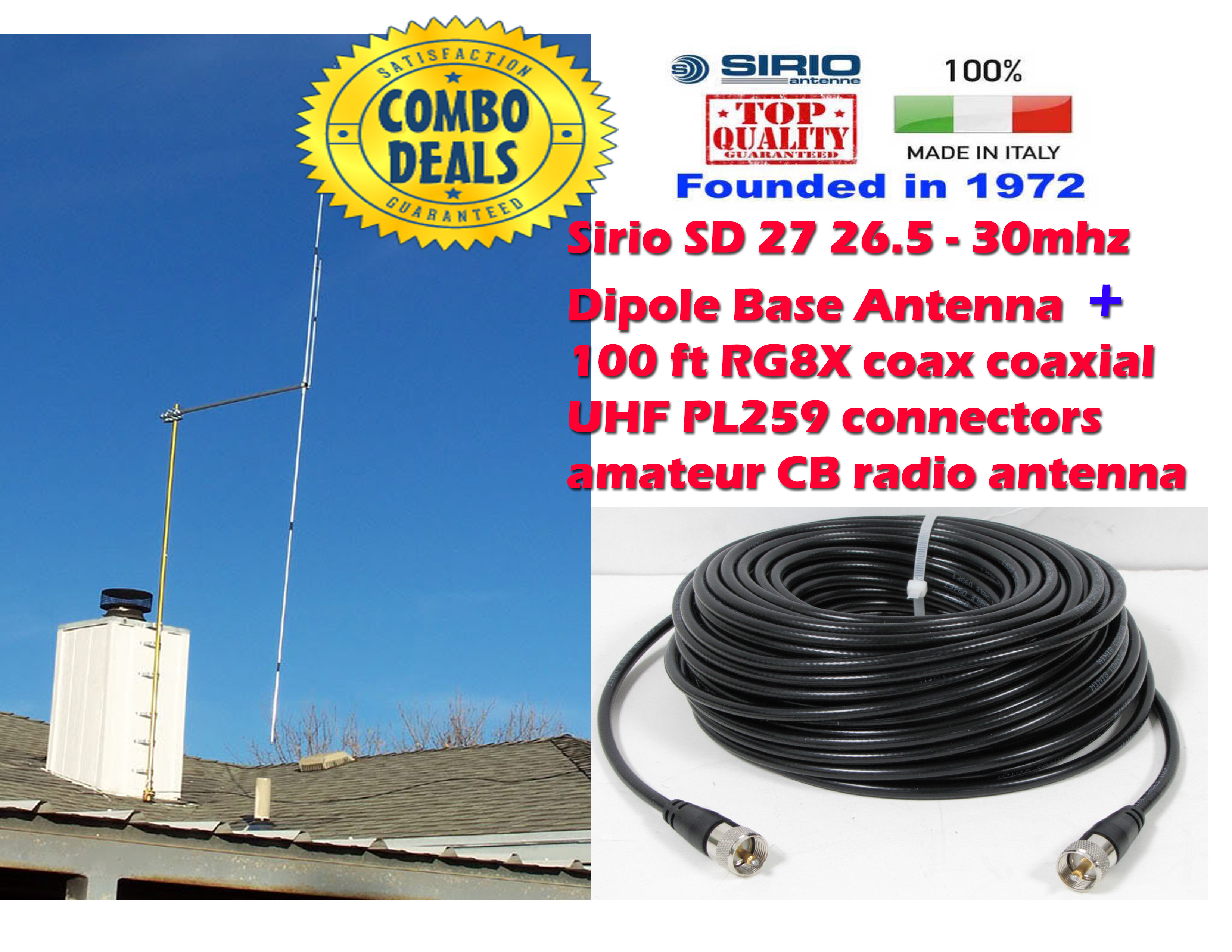 Sirio SD 27 26.5-30mhz 10M-HAM Dipole Base Antenna + 100 ft Coax