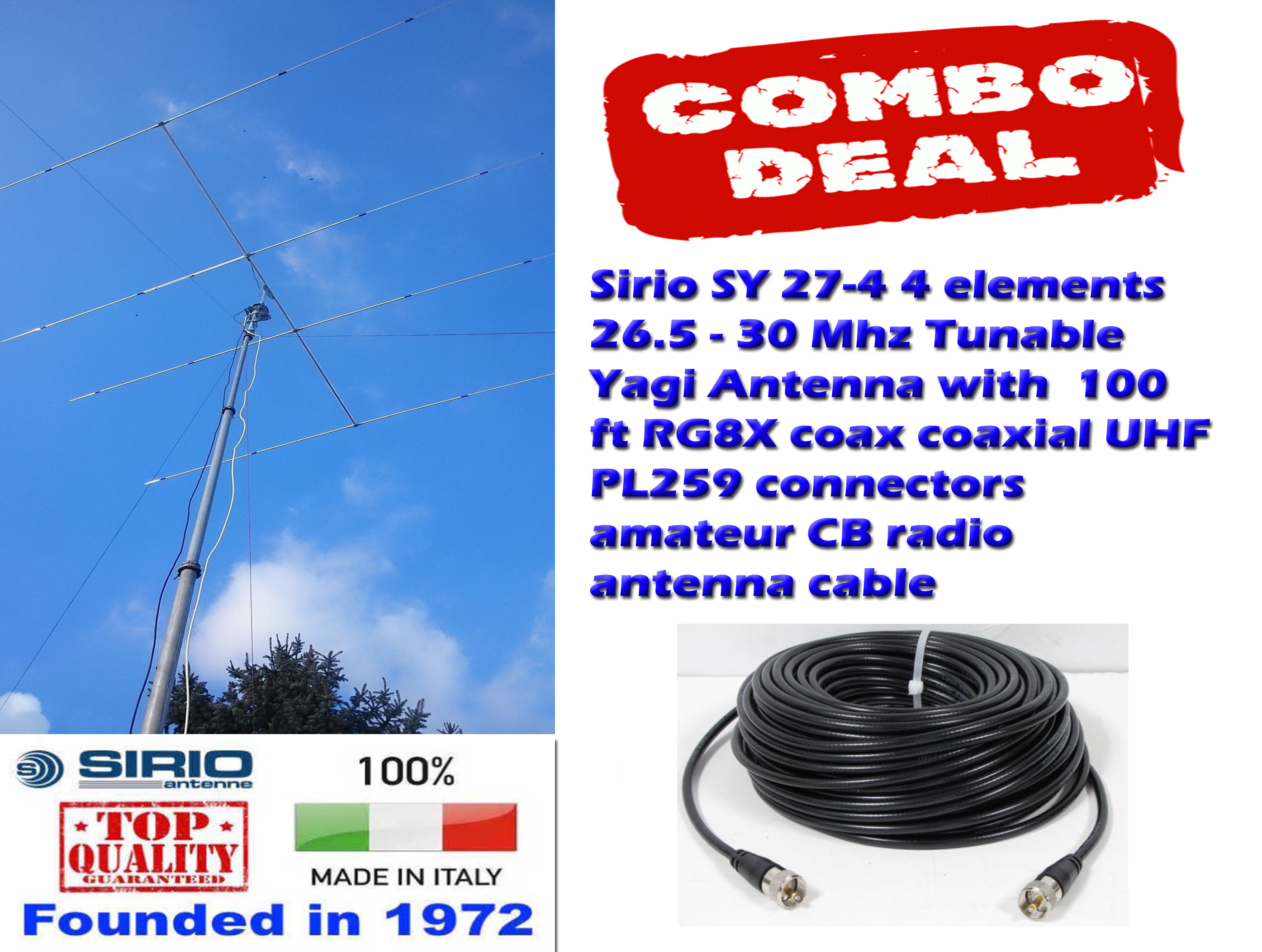 Sirio SY 27-4 4 elements Tunable Yagi Antenna with 100 Ft Coax