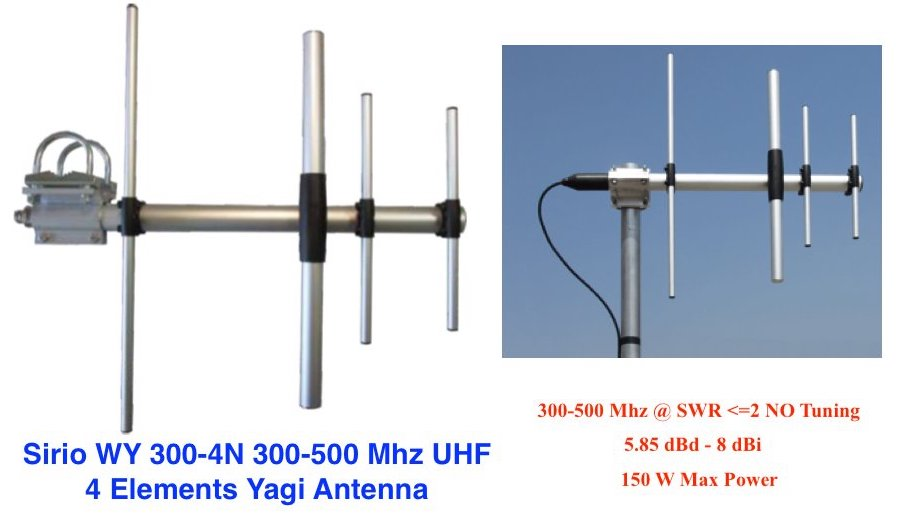 Sirio WY300-4N 300-500Mhz 4 Elements UHF Yagi Antenna