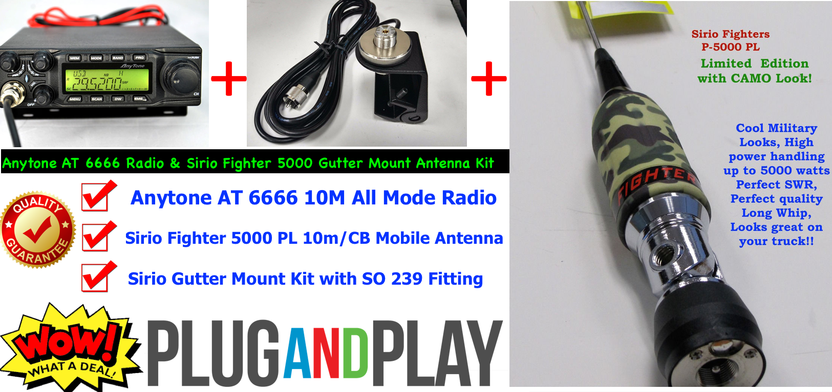 Anytone AT 6666 All Mode Radio & Sirio Fighter 5000 Gutter Mount