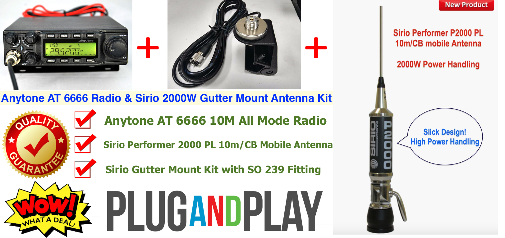 Anytone AT 6666 All Mode Radio & Sirio P2000 Ant & Gutter Mount [ANY ...