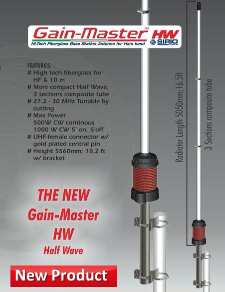Sirio Gain-Master Fiberglass HW Half Wave 10m & CB Base Antenna - Click Image to Close