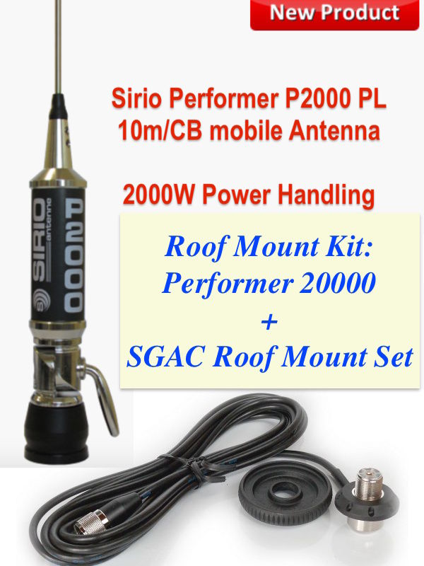 con bobina de iluminaci/ón Sirio P5000 PL LED Power Mobile CB//10m antena