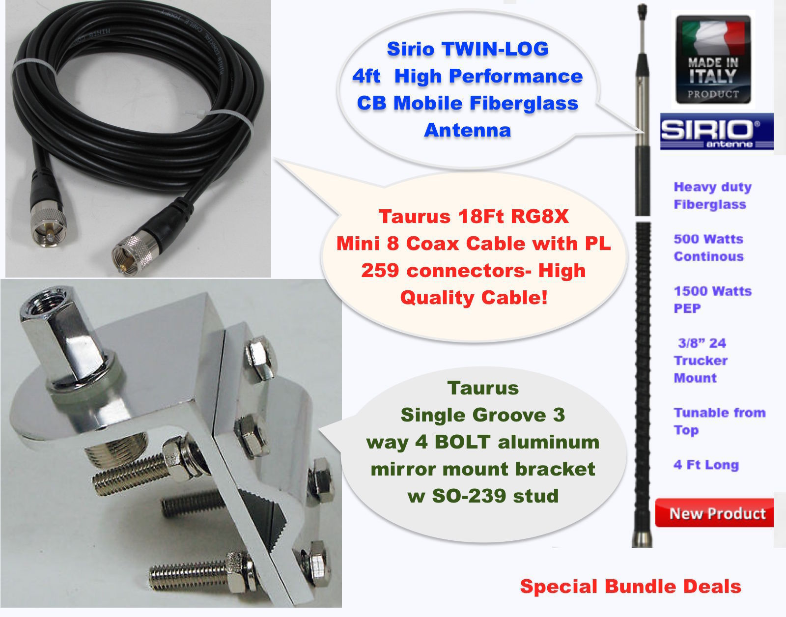 Sirio 1500 Watt 4FT CB Antenna Kit, 18FT RG8x Coax, Brackets