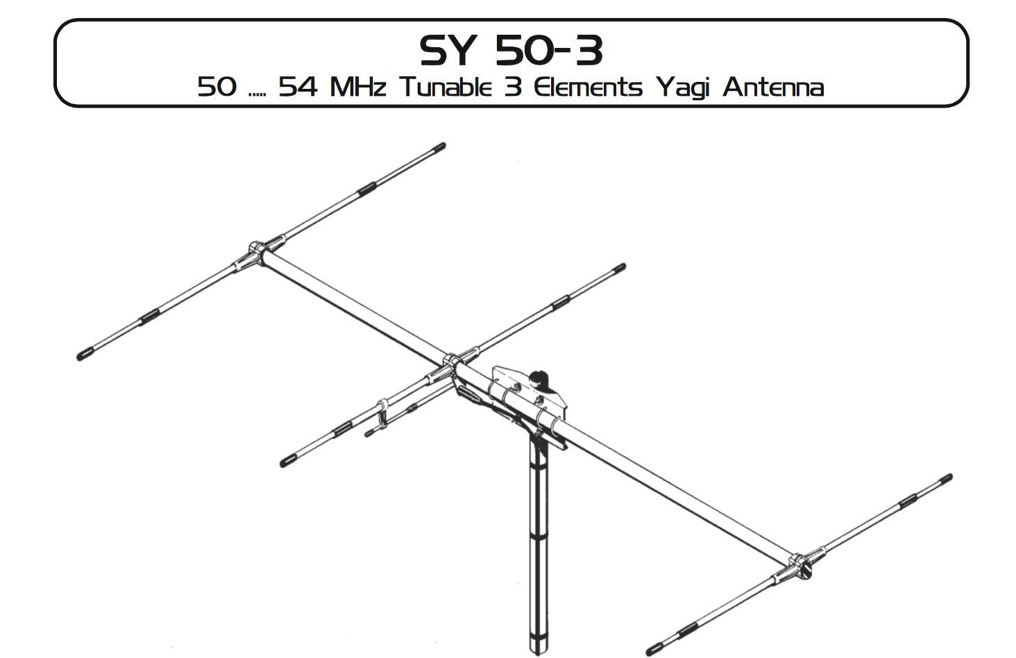 Sirio 50-54Mhz SY 50-3 6 meter Tunable 3 elements Yagi Antenna