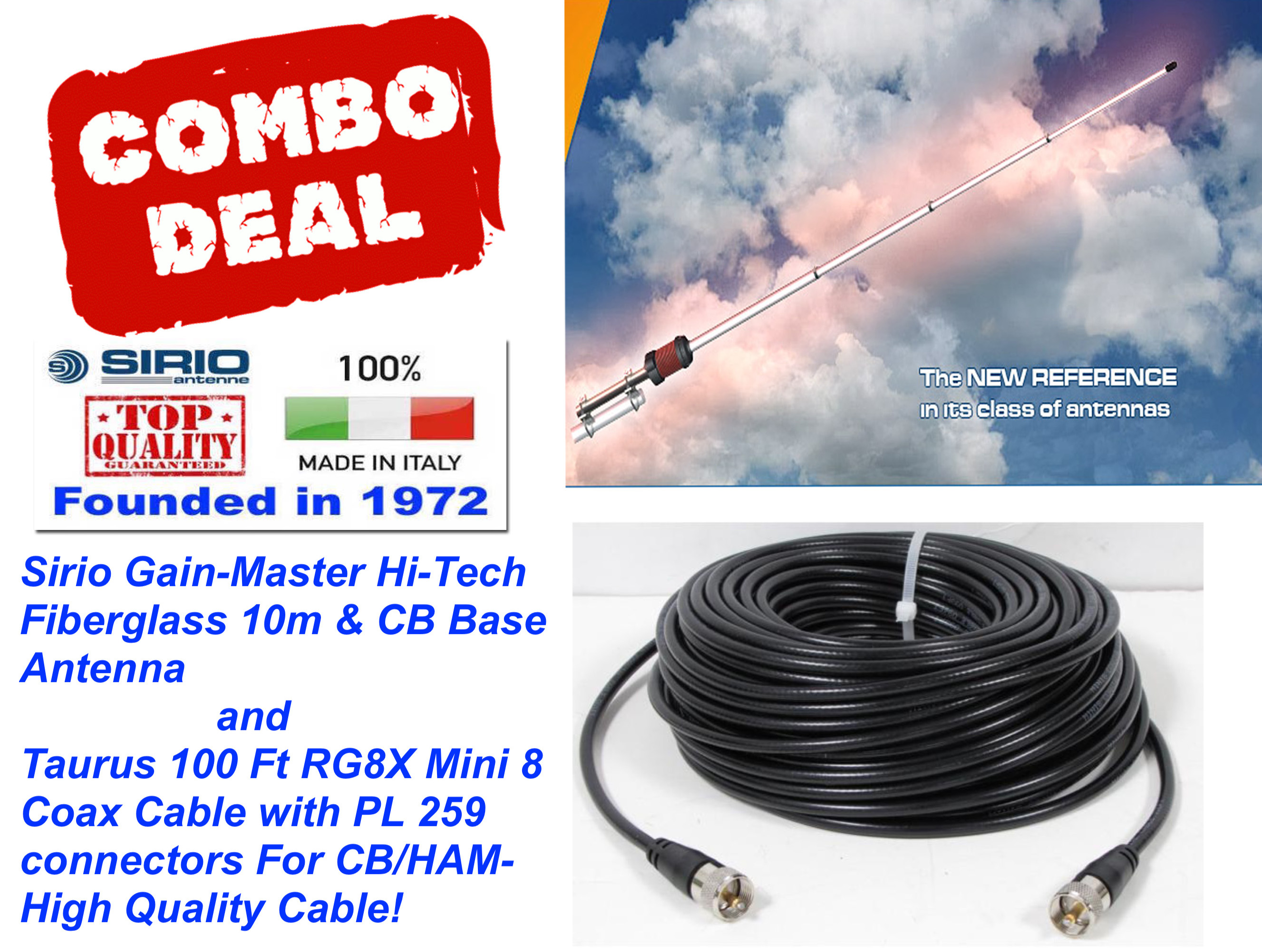 Sirio Gain-Master 5/8 Wave 25.5-30Mhz Base Antenna + 100 Ft Coax